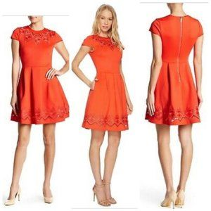 TED BAKER Bright Red Mesh Lace Embroidered Dress